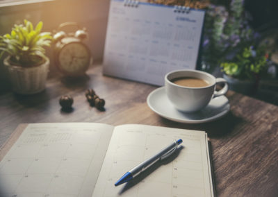 Planning the dates with a cup of coffee